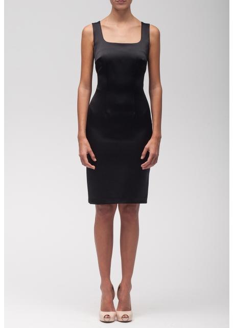 Vestido cóctel Negro de Raso