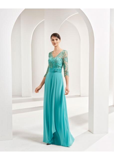 Vestido Marfil Couture Gasa y Encaje